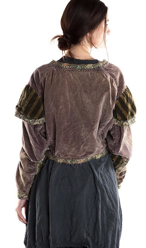 Cotton Velvet Camille Cropped Jacket with Silk Floral Trim, Cotton Lace and Velvet Stripe Accents, Magnolia Pearl
