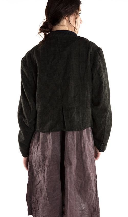 Plaid Wool Kelley Cropped Coat, Small Front Pockets, Black Buttons and Cotton Twill