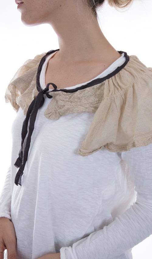 Cotton Tulle and Lace Devan Shoulder Drape with Black Silk Ties, Magnolia Pearl