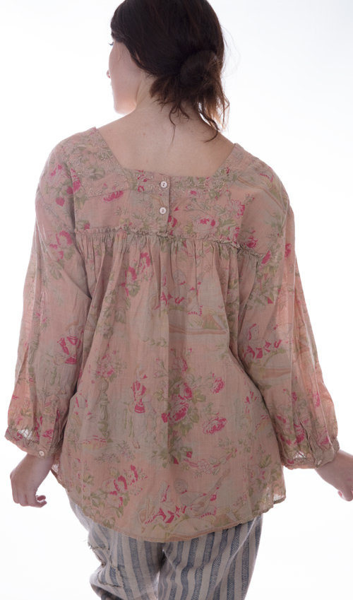European Cotton Anastasia Top with Long Sleeves, Emroidery and Front Pocket