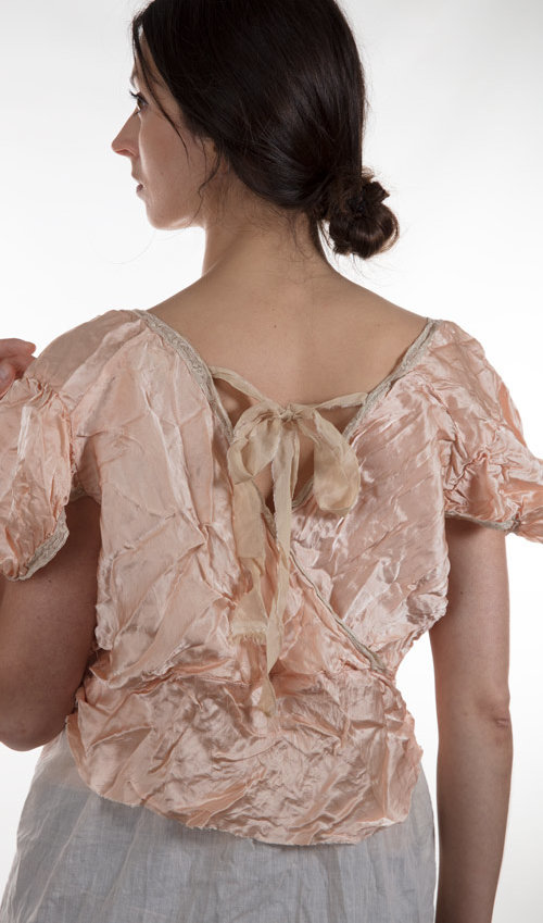 Silk Satin Ginger Overtop with French Cotton Lace and Tie in the Back
