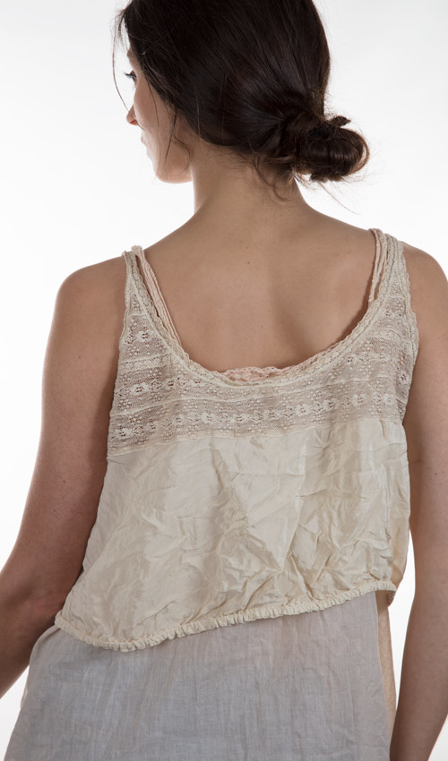 Cotton Silk Abella Under-Over Victorian Lounge Top with Cotton Lace
