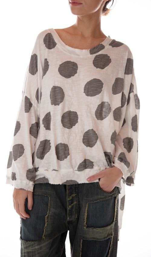 Cotton Jersey Oversized Hi Lo Francis Pullover with Distressing and Fading, Magnolia Pearl