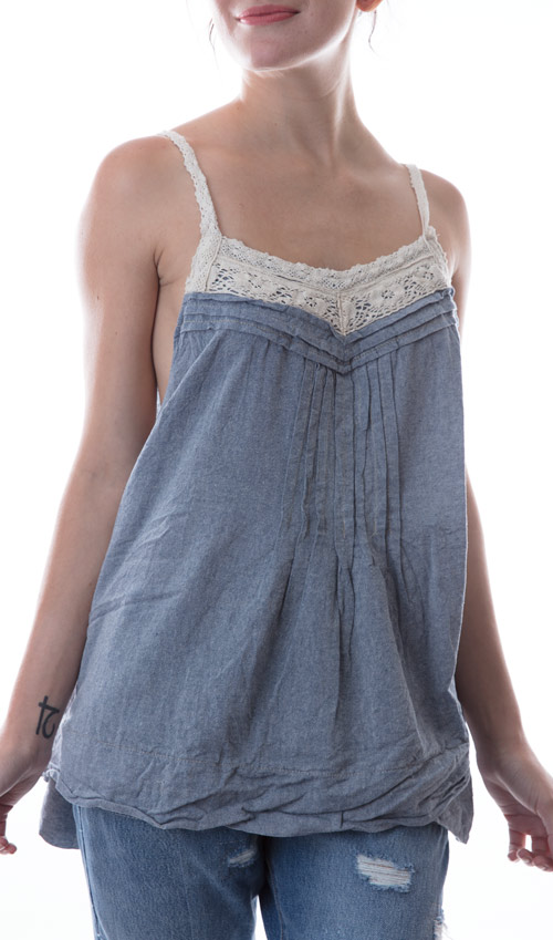 Light Cotton Chambray Emi-Lou Tank with Cotton Lace Straps and Pintucks in Faded Denim