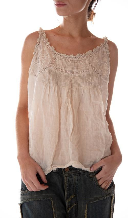 Linen Ramie Embroidered Clementine Tank with Lace Details, Pintucks and Raw Edges, Magnolia Pearl
