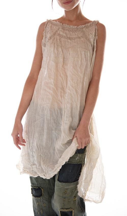 Linen Ramie Embroidered Clementine Tank Slip with Lace Details, Pintucks and Raw Edges, Magnolia Pearl
