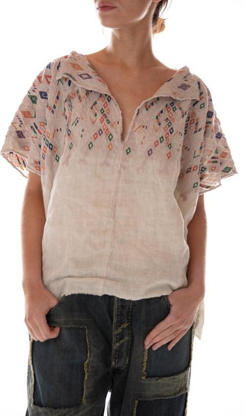 European Linen Embroidered Andi Cropped Poncho with Distressing, Magnolia Pearl
