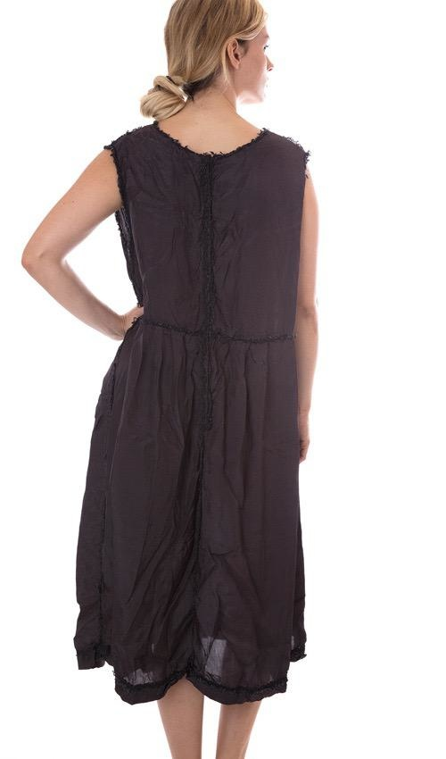 Silk Viscose Jemma Tank Dress, with Tattered Cotton Lace, Ruffled Collar at Neck and Antiqued Snaps at Back