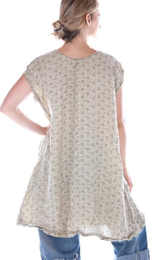 French Linen Embroidered Orlena Sleeveless Dress, Magnolia Pearl