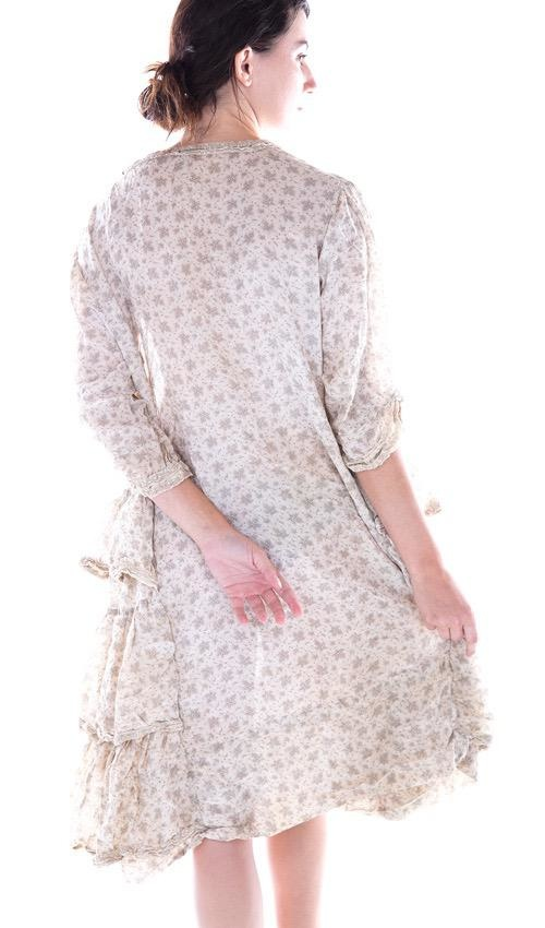 Cotton Silk Katina Dress with Side Ruffles, Decorative Cotton Lace, and Button Neckline - Magnolia Pearl