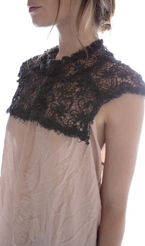 European Cotton Crochet Lace Elizabeth Jabot with Snaps at Front, Magnolia Pearl