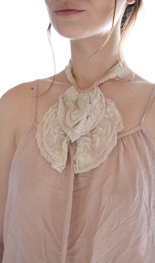 Linen Ramie Embroidered Fairen Jabot with Cotton Lace Details and Raw Silk Ties, Magnolia Pearl