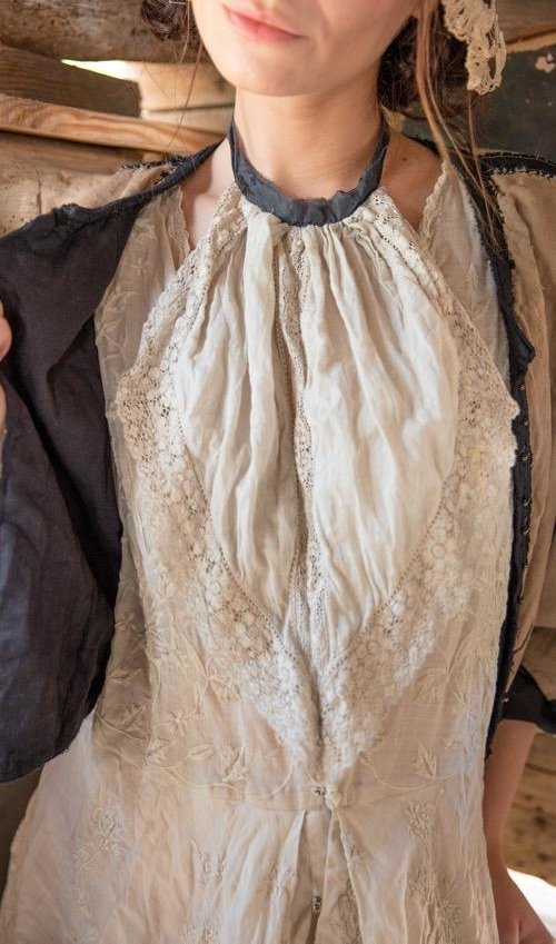 Linen Ramie Freya Jabot with Cotton Lace Details and Raw Silk Tie, Magnolia Pearl