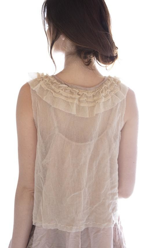 Cotton Tulle Talia Jabot Tank with Cotton Lace Details and Silk Accent at Neckline, Magnolia Pearl