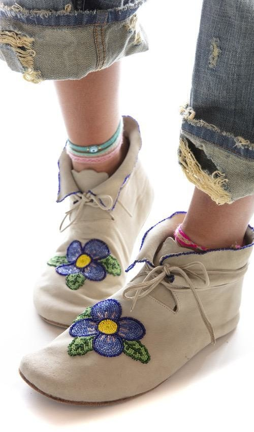 All Leather Hand Beaded Morning Glory Moccasins with Leather Tie and Soles, Magnolia Pearl