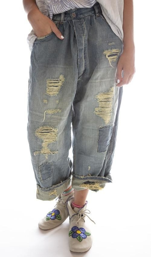 Cotton Eowyn Denims with Hand Aging, Patching, Distressing and Mending, Button Waist, Magnolia Pearl