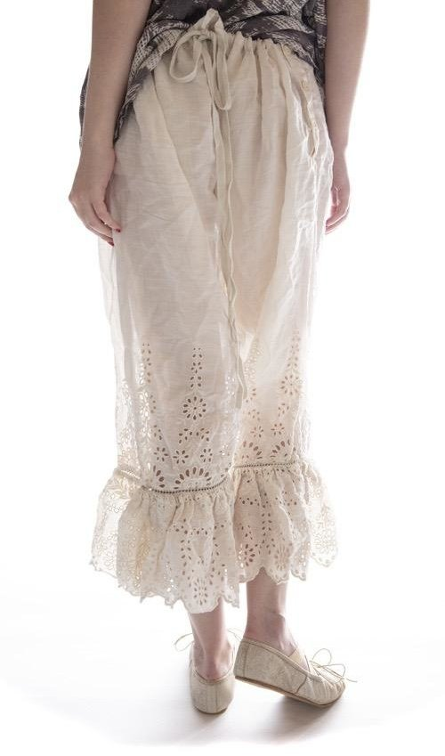 Linen Ramie Wedding Night Bloomers with Eyelet Embroidery, Scalloped Edges and Drawstring Waist,  Magnolia Pearl