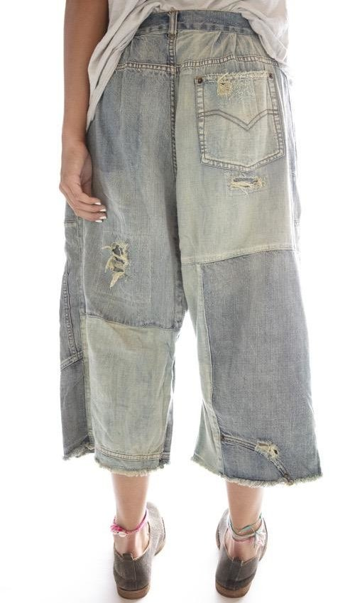 Cotton Denim Reconstructed Beck Jeans with Fading, Distressing and Patching, Side Buttons, Magnolia Pearl