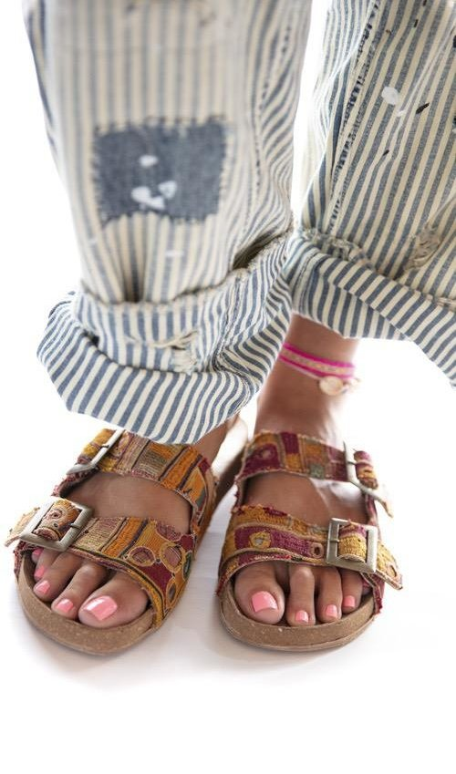 Vintage Ethnic Textile MP Slides with Leather Lining and Sole