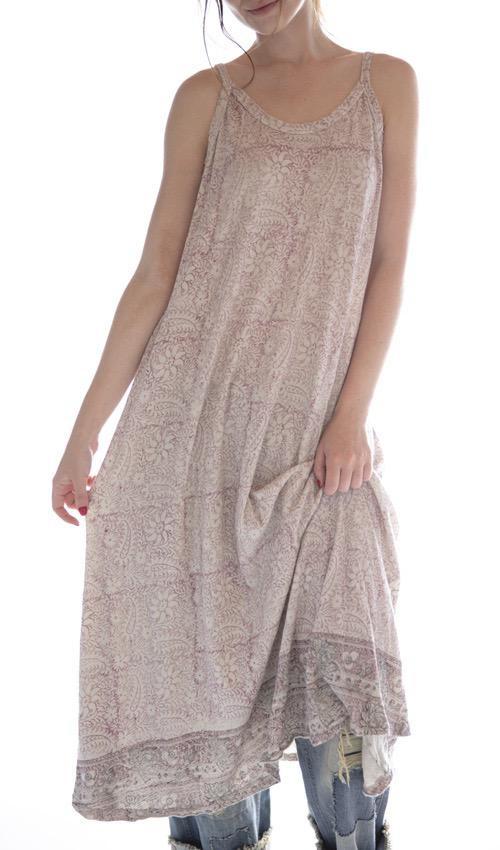 Cotton Jersey Hand Block Print Lana Tank Dress, Magnolia Pearl