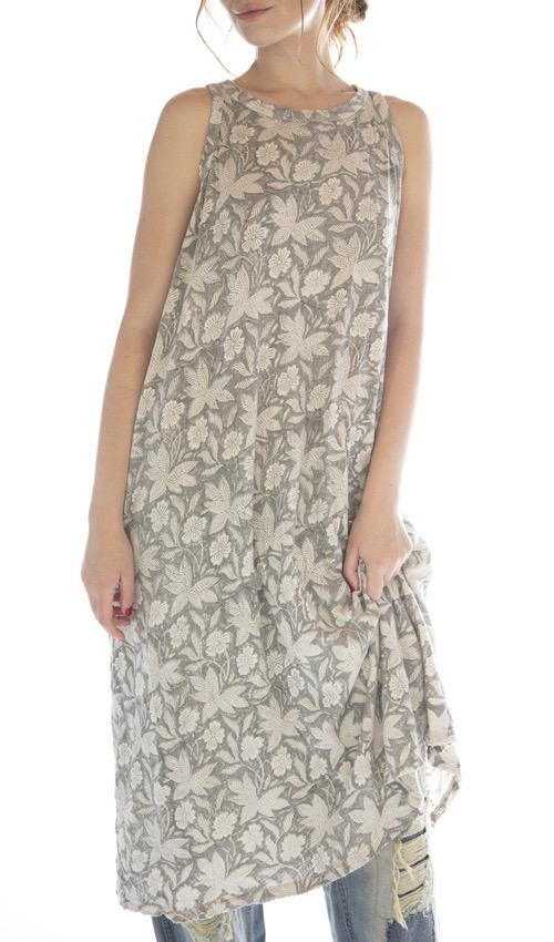 Cotton Jersey Hand Block Print Ari Retro Fit Tank Dress, Magnolia Pearl