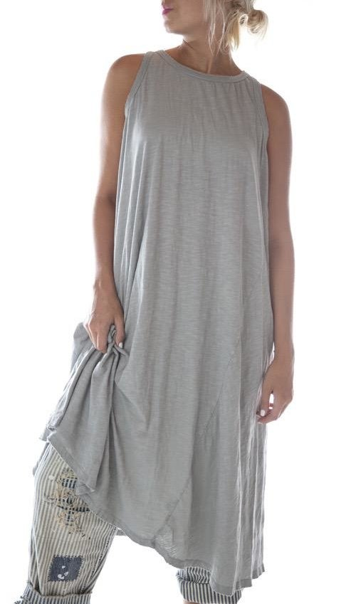 Cotton Jersey Ari Retro Fit Tank Dress, Magnolia Pearl
