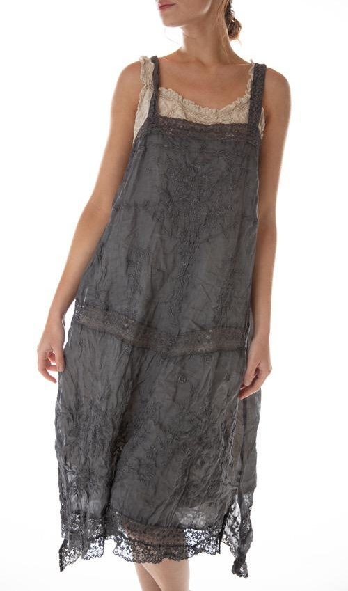 Linen Ramie Vivi Anne Embroidered Slip with Lace Straps and Lace Details, Magnolia Pearl