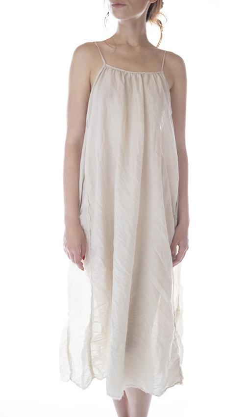Cotton Silk Audrey Simple Slip with Adjustable Thin Straps, Raw Edges and Seams, Magnolia Pearl