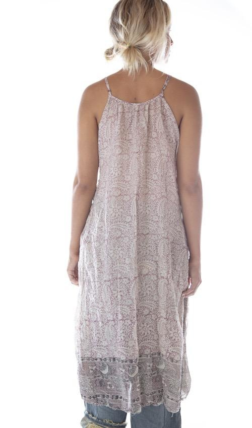 Thin Cotton Audrey Simple Slip with Adjustable Thin Straps, Raw Edges and Seams, Magnolia Pearl