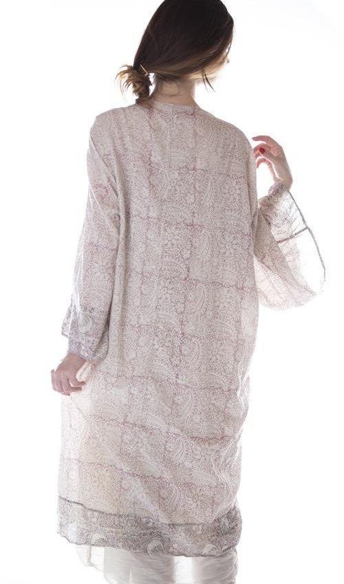 European Cotton Hand Block Print Kimono, Magnolia Pearl