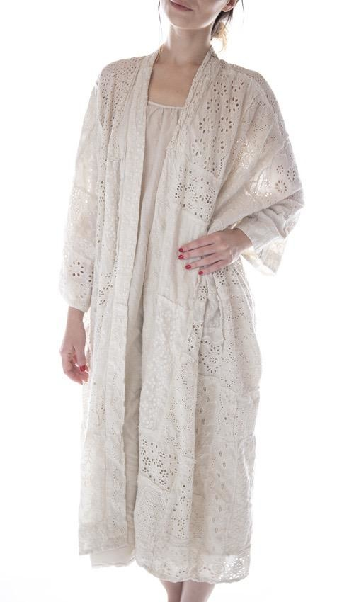 Cotton Eyelet Hand Patchwork Lilian Kimono, Magnolia Pearl, Moonlight, One Size