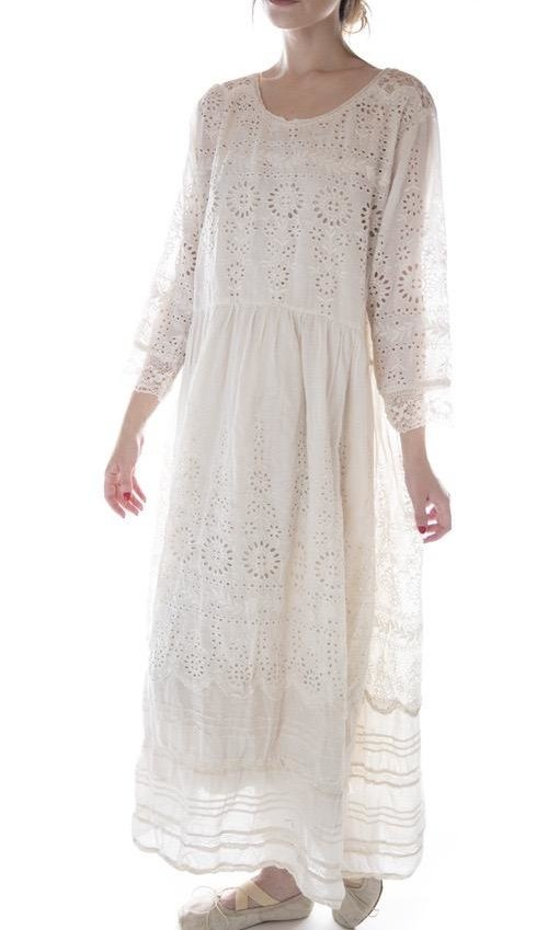European Cotton Embroidered Eyelet Colette Dress with Lace Details, Pintucks and Snaps at Back, Magnolia Pearl
