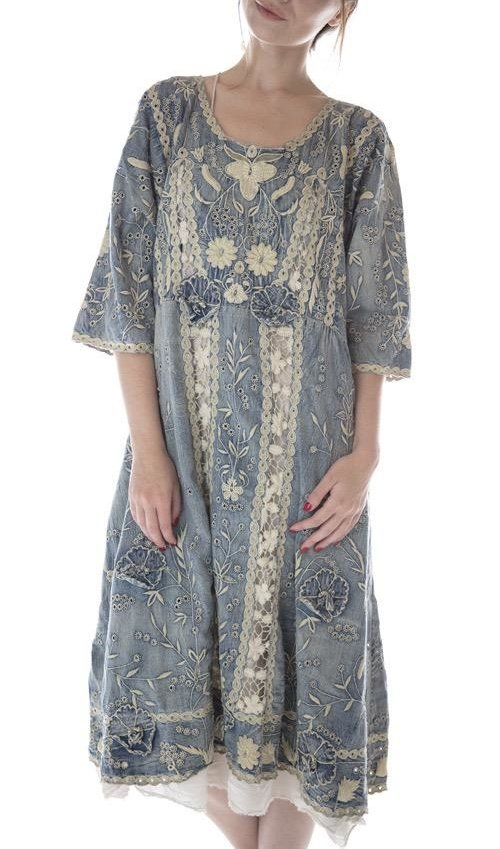 Cotton Denim Coronado Dress with Embroidery and Scalloped Edging, Magnolia Pearl