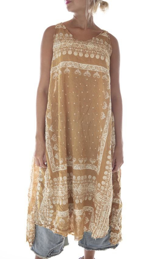 European Cotton Hand Block Print Layla Tank Dress with Raw Edges, Hand Fading and Distressing, Magnolia Pearl
