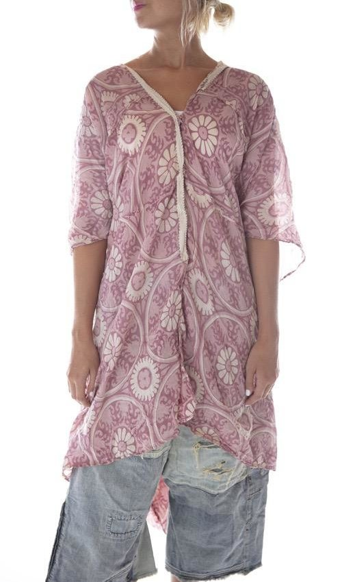 Cotton Silk Hand Block Print Jaya Kaftan  with Sunfading, Patching, Hand Mending and Snap Closures Down Front, Magnolia Pearl, Hawn Sixties, One Size