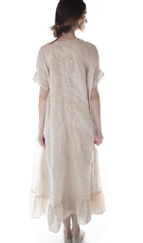 Linen Ramie Anna Grace Embroidered Roses Dress with Lace Details and Gathered Hem, Magnolia Pearl