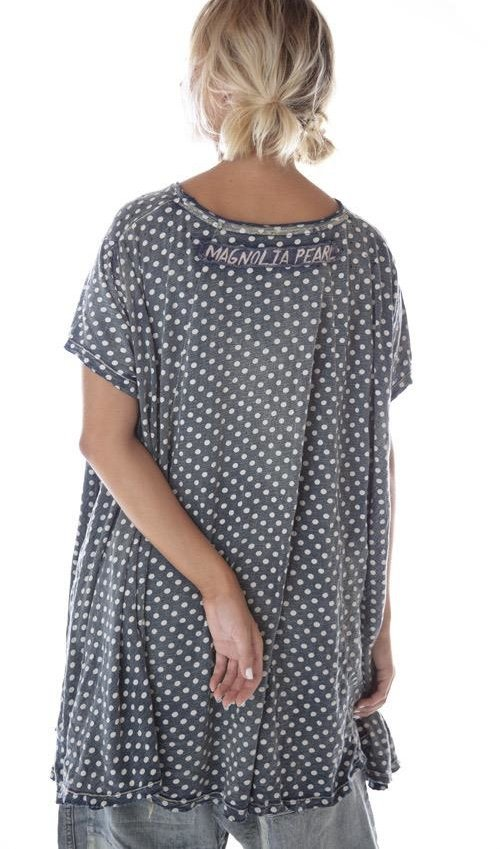 Cotton Jersey Hand Block Print Jett T with Distressing, Magnolia Pearl