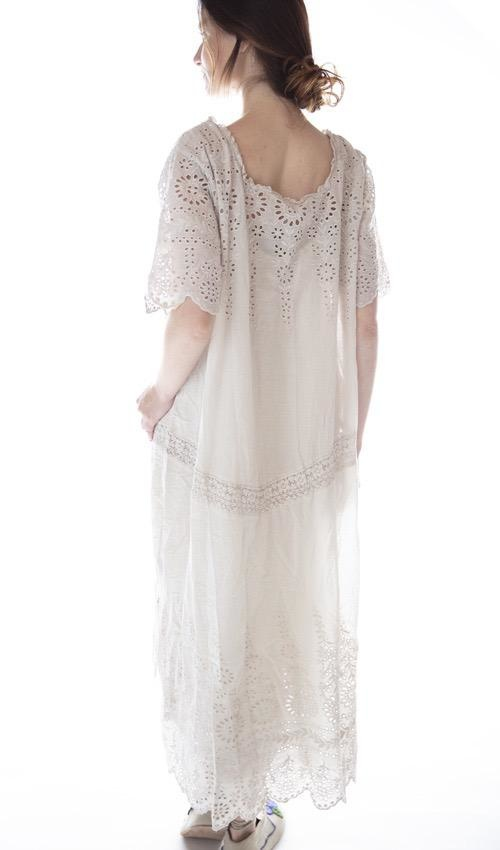 European Cotton Virgie Eyelet Dress with Cotton Lace Details and Scalloped Edges, Magnolia Pearl