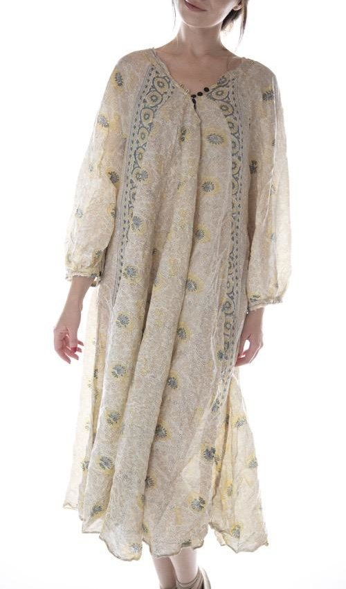 European Cotton Hand Block Print Naadja Dress with Black Button Details at Neck, Magnolia Pearl