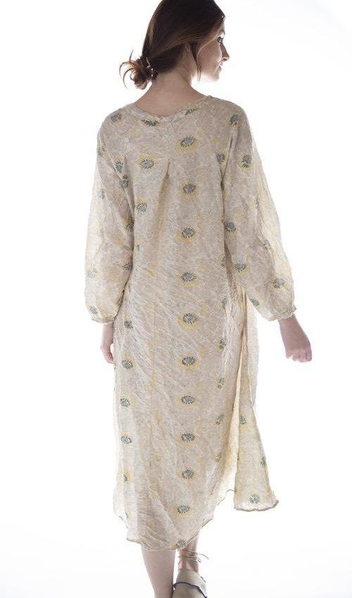 European Cotton Hand Block Print Naadja Dress with Black Button Details at Neck, Magnolia Pearl