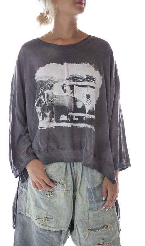 Cotton Jersey Oversized Hi Lo Baja Surf Francis Pullover T with Distressing and Fading, Magnolia Pearl