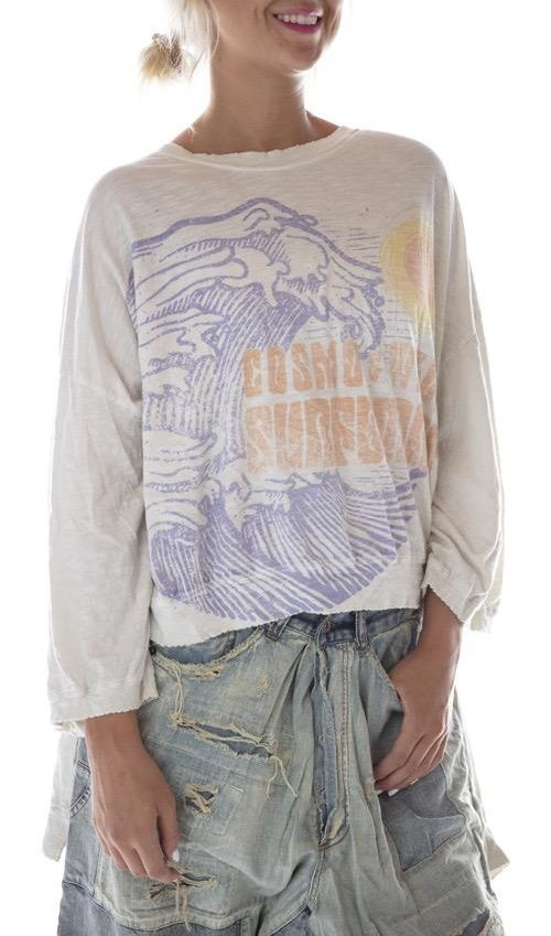 Cotton Jersey Oversized CW Surfboards Francis Hi Lo T with Distressing and Fading, Magnolia Pearl