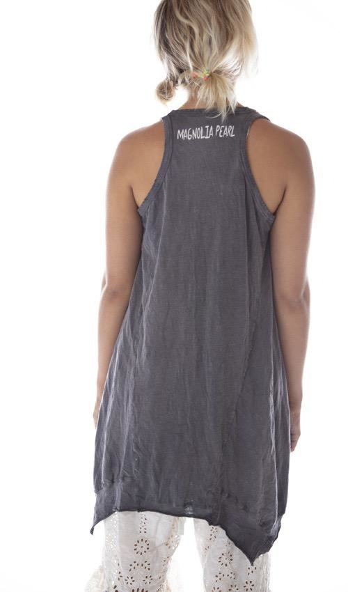 Cotton Jersey Moon Phase Paz A Line Tank with Distressing and Fading, Magnolia Pearl
