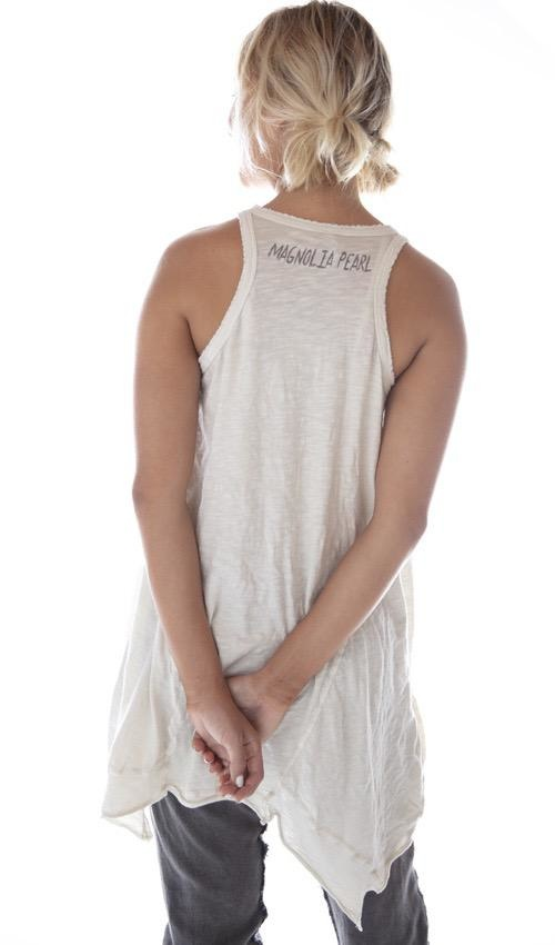 Cotton Jersey Starling Paz A Line Tank with Distressing and Fading, Magnolia Pearl
