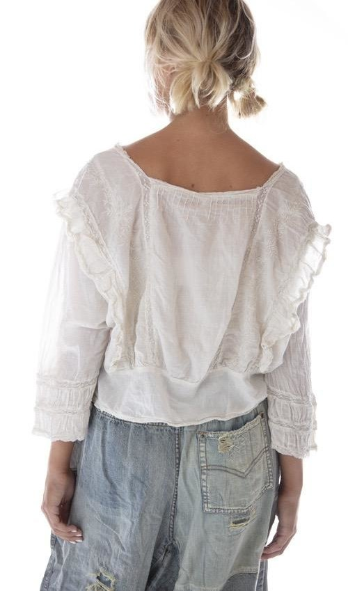 European Cotton Lucia Lace Embroidered Blouse with Pintucks and Cotton Lace Details, Magnolia Pearl