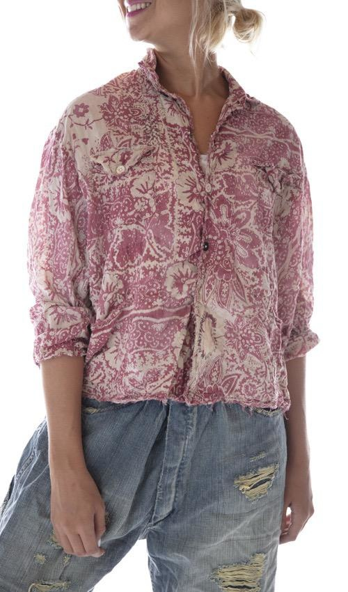 Cotton Buffalo Soldier Shirt Jacket with Sunfading, Mending, Distressing and Patching, Magnolia Pearl
