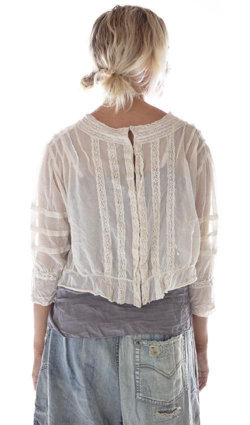 Cotton Tulle Aurora Belle Blouse with Pintucks, Cotton Lace Details, Crochet Trims and Antique Hooks, Magnolia Pearl