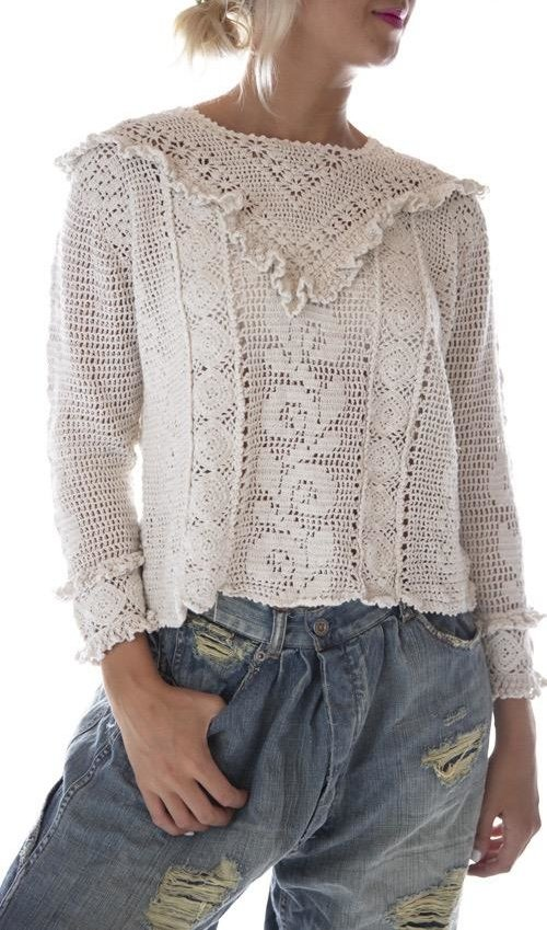 Fitted Hand Crochet Iris Cropped Sweater, Magnolia Pearl