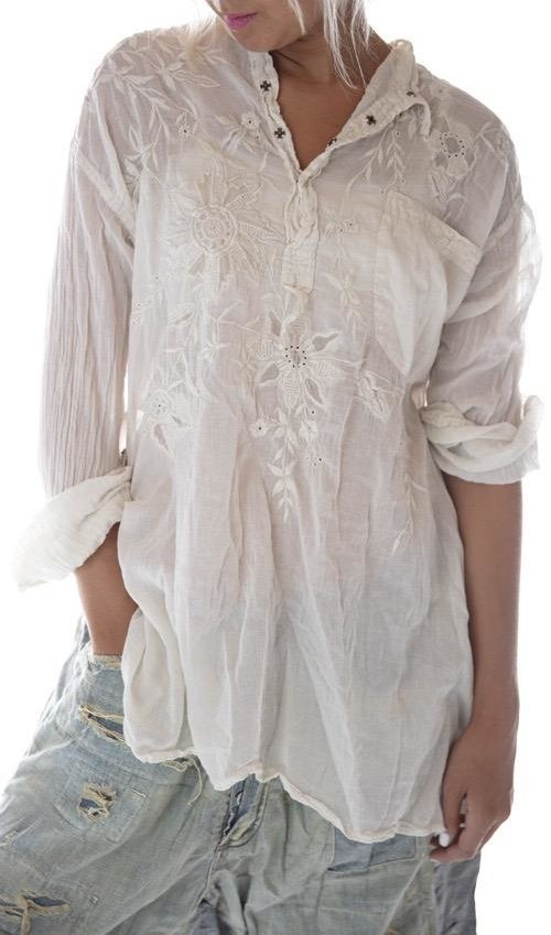 European Cotton Floral Embroidered Sitting Bull Shirt with Front Pocket and Snaps at Neck, Magnolia Pearl