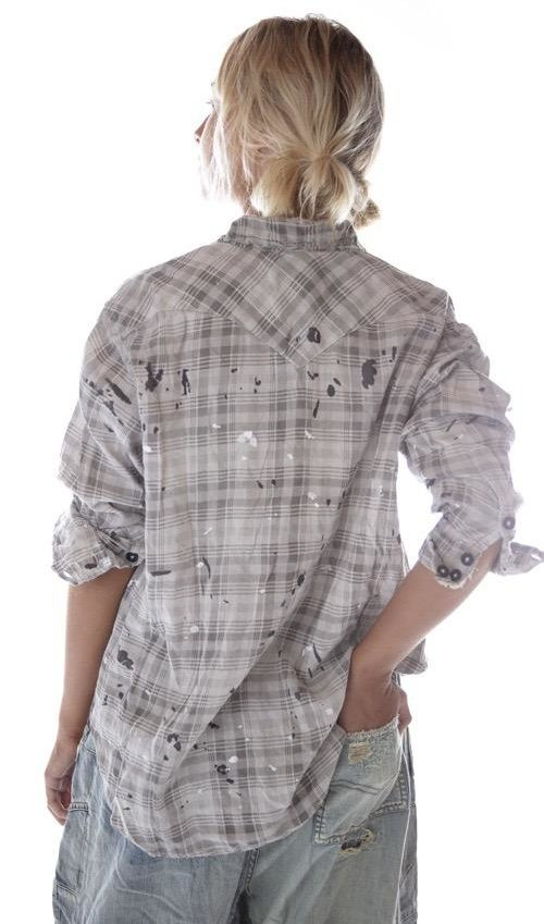 European Cotton Kelly Western Shirt with Fading, Distressing and Paint, Magnolia Pearl